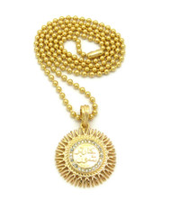 14k Gold Diamond Cz Allah Chain Pendant