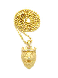 Mens Diamond Cz Crown Lion Of Judah Chain 14k Gold