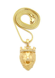 14k Gold Diamond Cz Crown Lion Of Judah Box Chain Pendant
