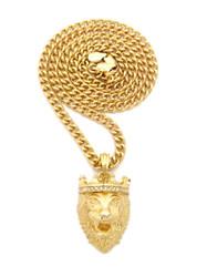 Mens Diamond Cz Crown Lion Of Judah Cuban Chain 14k Gold