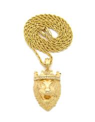 Mens 14k Gold Diamond Cz Crown Lion Of Judah Rope Chain