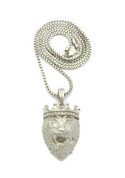 Mens Diamond Cz Crown Lion Of Judah Box Chain Pendant Silver