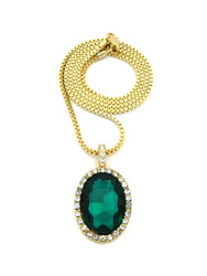 Oval Diamond Cz Gemstone Pendant Emerald Green Gold