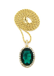 Oval Diamond Cz Gemstone Pendant Gold Rope Chain