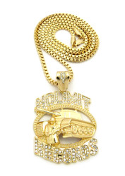 Diamond Cz Hip Hop No Limit Inspired Chain Pendant Gold