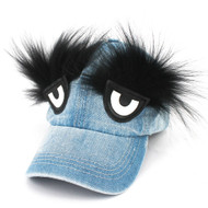 Denim Hat w/ Eyes and Eyebrows