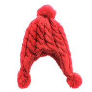 Knitted Trapper Aviator Hat Red