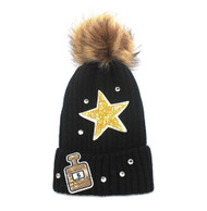 Super Star #5 Perfume Bottle Knitted Beanie Hat Black