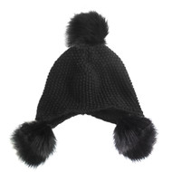 Pom Pom Ball Knitted Trapper Aviator Hat Black