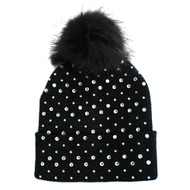 Rhinestone Fashion Stylish Pom Pom Ball Beanie Hat Black