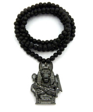 Egyptian God Anpu Anubis Pendant Black Hematite