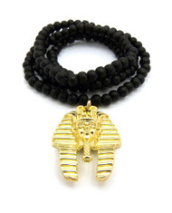 Egyptian Pharaoh King Tut Pendant Gold Beaded Chain