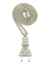 Coke Boys Inspired Iced Out Power Plug Pendant Cuban Chain Silver