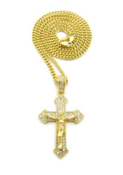 Diamond Cz Iced Out Arrow Cross Pendant Cuban Chain 14k Gold