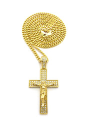 Iced Out 3D Jesus Block Cross Pendant Cuban Chain Gold