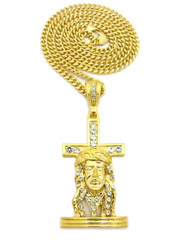 Jesus Face Cross Pendant Cuban Chain Gold