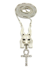 Egyptian God Anpu Anubis Iced Out Cross Pendant Chain Silver