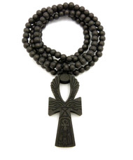 Eye Of Ra Wooden Ankh Cross Pendant Black