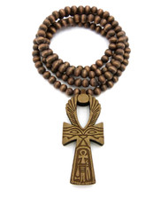 Eye Of Ra Wooden Ankh Cross Pendant Brown