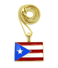 Puerto Rico Flag Pendant Box Chain 14k Gold