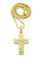 Christ Within Nugget Diamond Cz Cross Pendant Box Chain