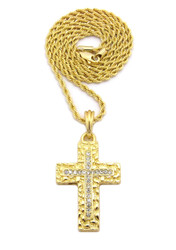 14k Gold Christ Within Nugget Cross Pendant Rope Chain
