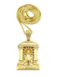 14k Gold Jesus Of Nazareth Cathedral Pendant Box Chain