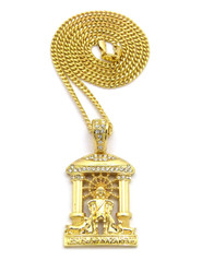 14k Gold Jesus Of Nazareth Cathedral Pendant Cuban Chain