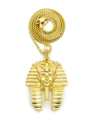 14k Gold Diamond Cz King Tut Egyptian Pendant Box Chain