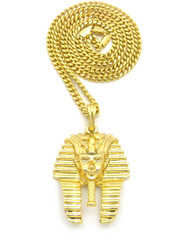 14k Gold Diamond Cz King Tut Egyptian Pendant Cuban Chain