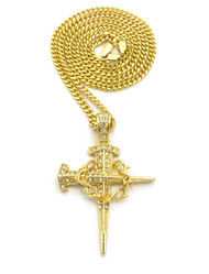 Nail Spike Thorns Jesus Cross Pendant Cuban Chain Necklace 14k Gold