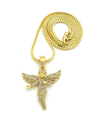 Diamond Cz Stone Covered Winged Angel Pendant Box Chain Gold