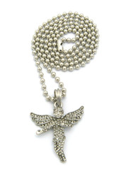 Diamond Cz Stone Covered Winged Angel Pendant Ball Chain Silver