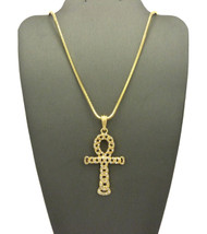 14k Gold Egypt Hollow Ankh Cross Nugget Pendant Snake Chain