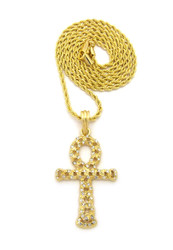 Ancient Egypt Hollow Ankh Cross Nugget Pendant Rope Chain 14k Gold