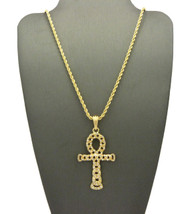 14k Gold Egypt Hollow Ankh Cross Nugget Pendant Rope Chain