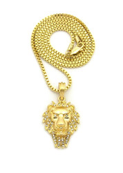 14k Gold Lion Of Judah Wrath Pendant Box Chain Necklace