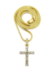 All Stone Iced Out Cross Pendant Box Chain Necklace 14k Gold