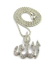 Diamond Cz Iced Out Allah Pendant Rope Chain Necklace Silver