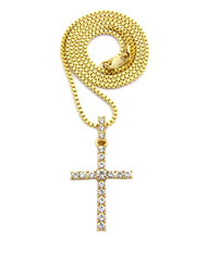 Center Stone 4 Prong All Ice Cross Box Chain Pendant 14k Gold
