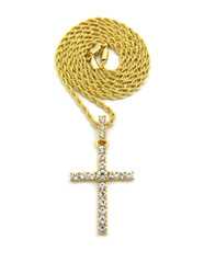 Center Stone 4 Prong All Ice Cross Rope Chain Pendant 14k Gold