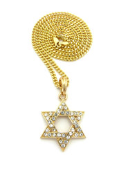 Star Of David Diamond Cz Pendant Cuban Chain 14k Gold