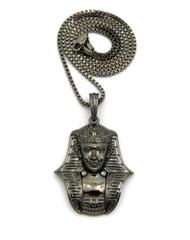 African Egyptian Pharaoh Khafra  Pendant Box Chain Black Hematite