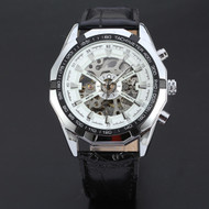 Men's Black Leather Dial Skeleton Mechanical Wrist Watch