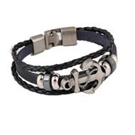 Men's Anchor Design Alloy Leather Bracelet