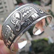 Tibetan Totem Bangle Retro Cuff Wide Bracelet