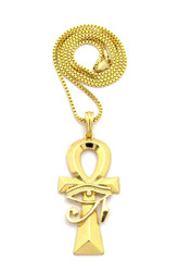 Eye Of Ra Over Ankh Cross African Egyptian Box Chain Pendant Gold