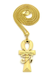 Eye Of Ra Ankh Cross African Egyptian Cuban Link Pendant Gold