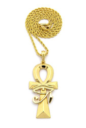 Eye Of Ra Over Ankh Cross African Egyptian Rope Link Pendant Gold