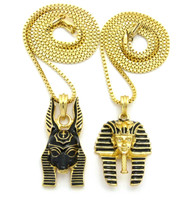 14k Gold King Tut God Anubis Pendant Chain Set